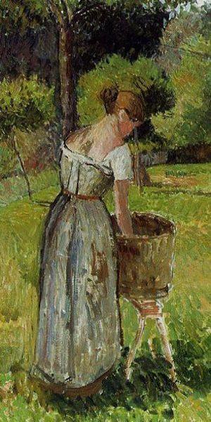 """Camille Pissarro (1830-1903) ~ """"Blanchisseuses à Eragny"""", 1901 (Détail) ~ Huile sur Toile"""