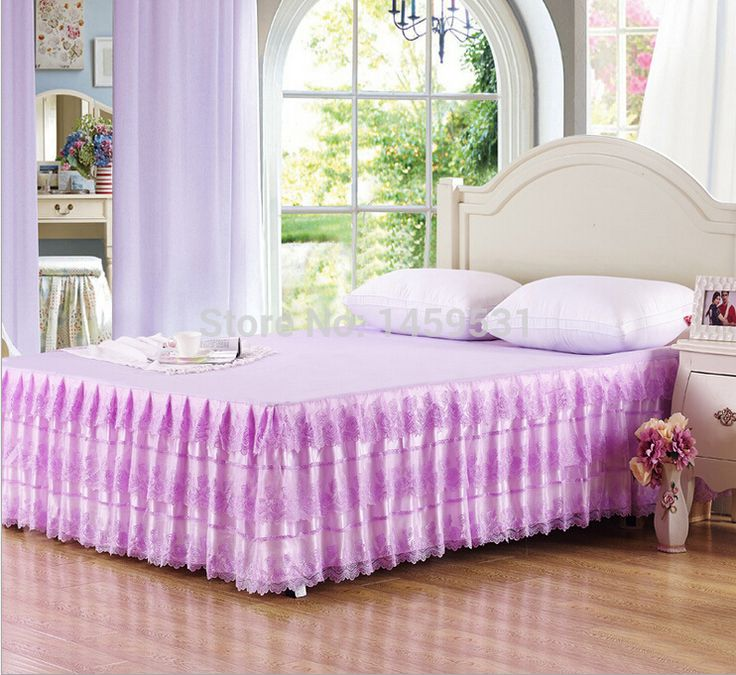 2015 cotone-dacron merletto della principessa gonna letto di cotone diffusione letto copriletto ppink/viola/colore giallo/oro full/queen size  (China (Mainland))