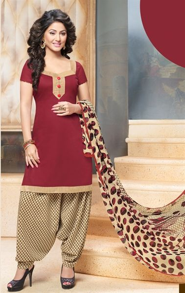 Picture of Magnificent Maroon Cotton Patiala Salwar Kameez