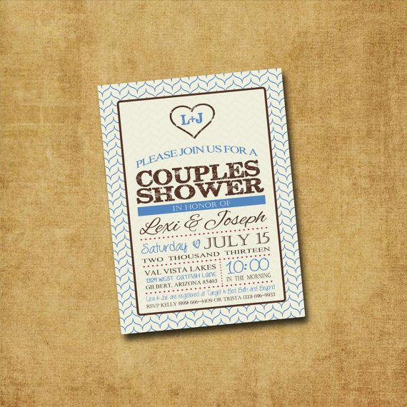 Printable Couple's Shower Invitation - Rustic Heart Couples Shower, Bridal Shower, Wedding Shower, Engagement Party on Etsy, $12.00