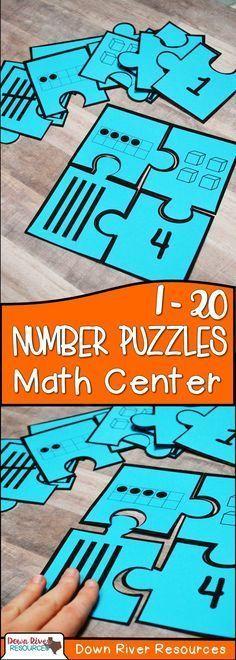 1-20 Number Puzzles | Kindergarten Math Centers | Kindergarten Math Puzzles | Read and Represent Numbers 1-20