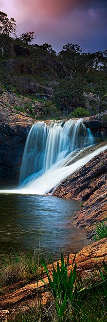 A vertical panorama of the water falls at Serpentine falls in Western Australia