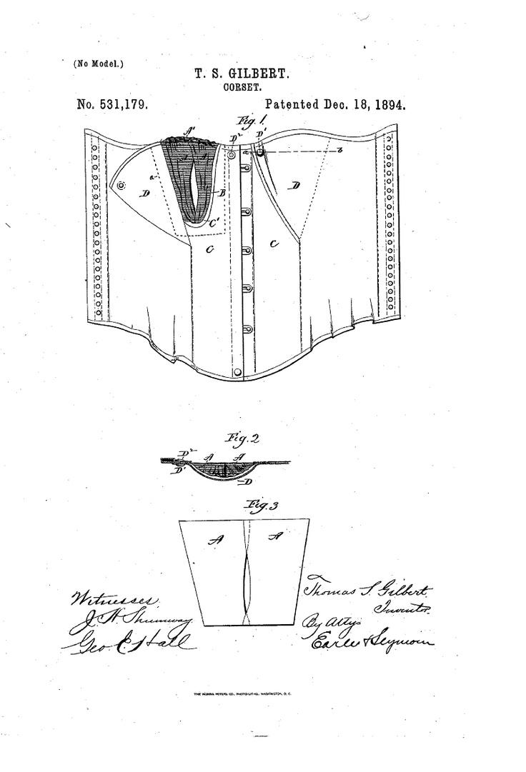 1894 Nursing corset  US patent 531,179  Snaps and interior curtain