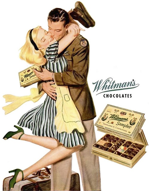 A heartwarmingly romantic ad from 1944 for Whitman's Chocolates.  (and by the way, I <3 her green peep-toe shoes!!)