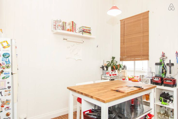 Kitchen bench with stools is a comfortable  space for meals.
