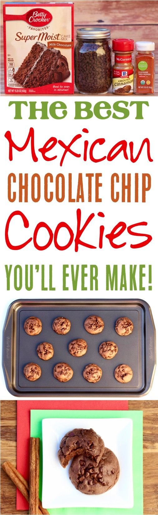 Mexican Chocolate Cookie Recipe!  Crazy delicious and one of the easiest chocolate cake mix cookies you'll ever make!