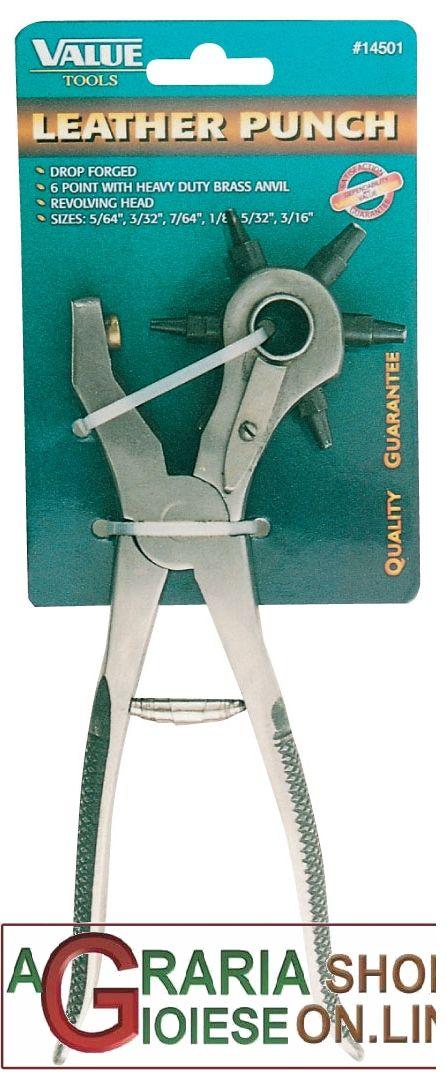 PINZA FUSTELLATRICE PER CUOIO IN ACCIAIO FORGIATO 6 FUSTELLE https://www.chiaradecaria.it/it/ferramenta-utensili-manuali/14440-pinza-fustellatrice-per-cuoio-in-acciaio-forgiato-6-fustelle-8014211045288.html