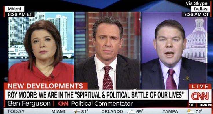 """CNN conservative calls on Moore to step aside—gives Trump a pass: """"That's where you have the political question, Chris, right there. That's my problem with all of this. We have to stop going back in politics. Going, 'okay, you attacked Franken, so now what about this quote by a Republican? Hold on, what about this quote from a Democrat. That doesn't help anyone here."""" (If you say Franken & Moore should step down, apply the same standard to Trump w/19 accusers, don't act like it's just the…"""
