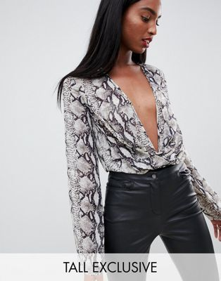 d6536491af Missguided Tall exclusive tall plunge body in snake print