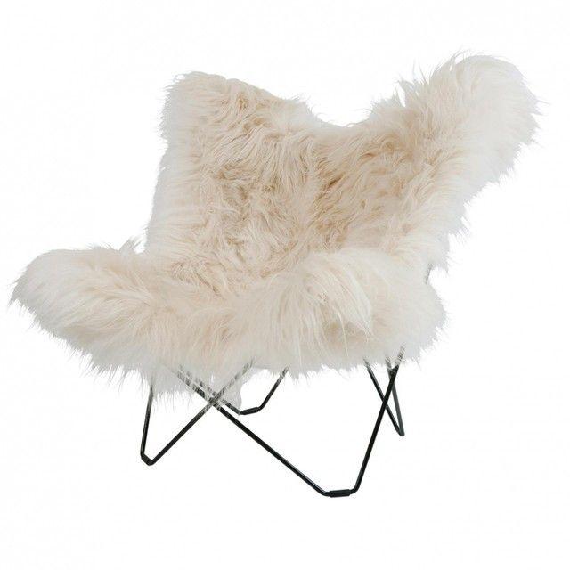 cuero - Iceland Mariposa Butterfly Chair - Fauteuil - wit/IJslandse lamsvacht/onderstel zwart