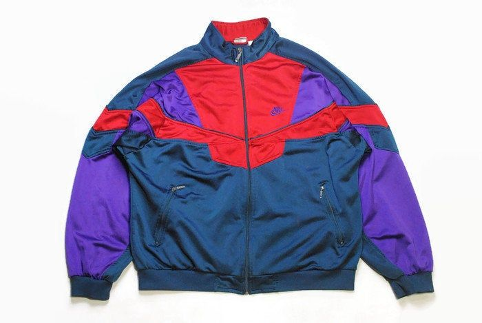 vintage NIKE authentic track jacket Size LXL red blue rare