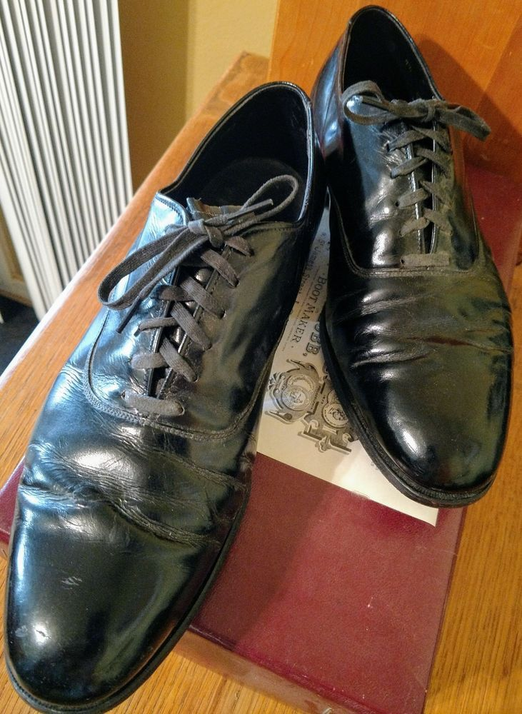 Alden Mens Shoes Plain Toe Black Patent Leather Oxford Balmoral