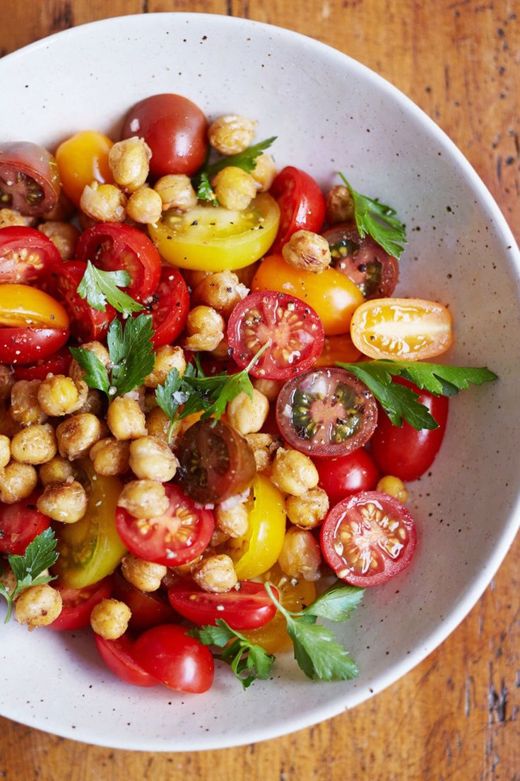 This is the kind of salad that can be tossed together at a moment's notice. Can serve on top of greens.