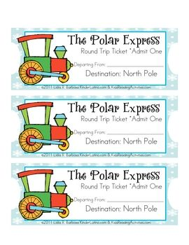 Directions:*Ask students to wear pajamas the day that The Polar Express story will be read.*Give students their own ticket.