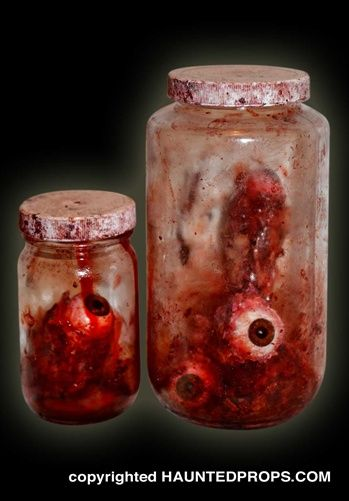 Halloween Prop BLOODY RIPPED OUT EYES IN JARS Extreme Detail Movie Quality Prop