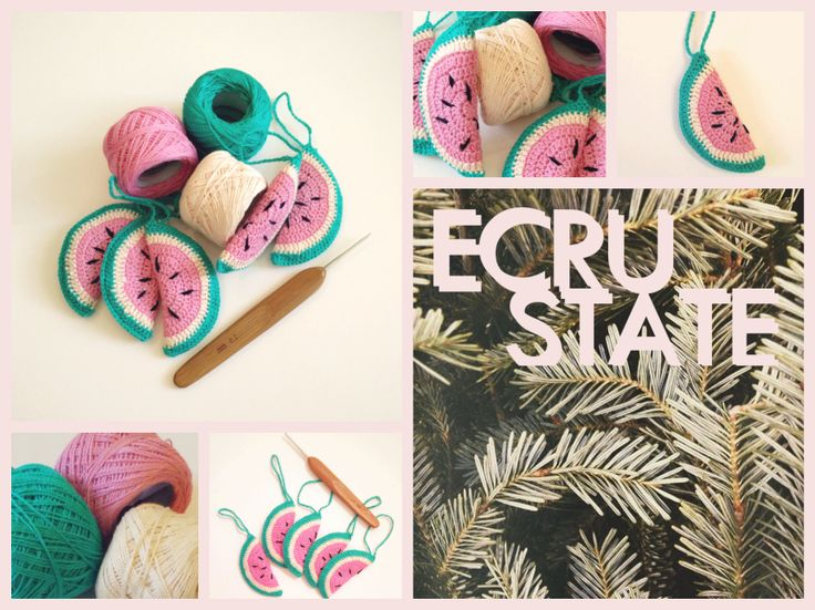 #christmas #ornaments #decoration #crochet #watermelon #ecrustate #pink #flamingo