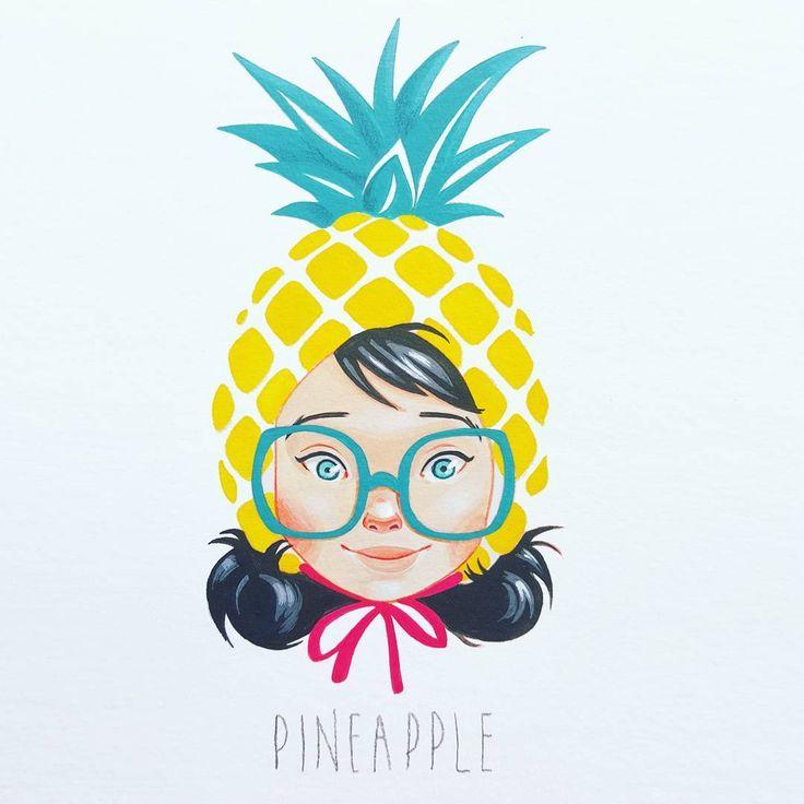 Pineapple #illustration #painting #gouache                                                                                                                                                                                 More