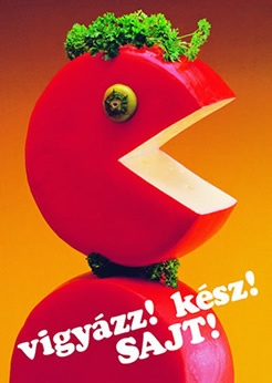 "Hungarian retro cheese advertisement ""Ready, steady, cheese!"""