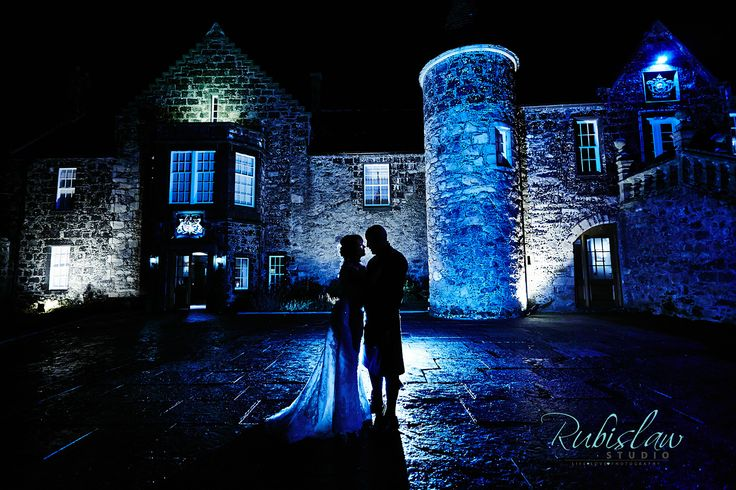 Fabulous night image of Fiona and Colin, who were married in the Stables at Meldrum House in November 2013. Aberdeen wedding photography by Rubislaw Studio www.rubislaw.com #aberdeenwedding #aberdeenweddingphotographer #aberdeenweddingphotographers #aberdeenweddingphotography #scottishweddingphotographer #meldrumhousehotel #weddingatmeldrumhousehotel