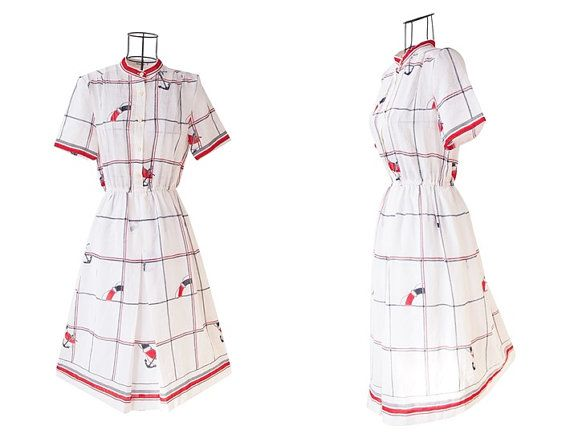 Vintage Anchor Print Dress // White Dress // Short by LPSNUG