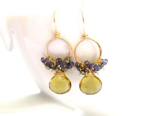 Whiskey Quartz, Blue Iolite, and Golden Pyrite Delicate Earrings!