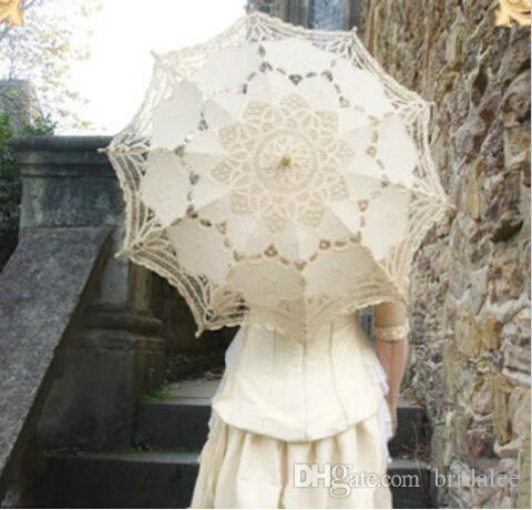 Ручной Свадебные Бежевый Кружевной Зонтик Зонтик Дамы Вышивка Принцесса Зонтик Отbridalee