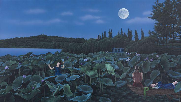 Tamen 他们小组, Moonlit Night 明月夜, Oil on canvas 布面油画, 80x140cm, 2014