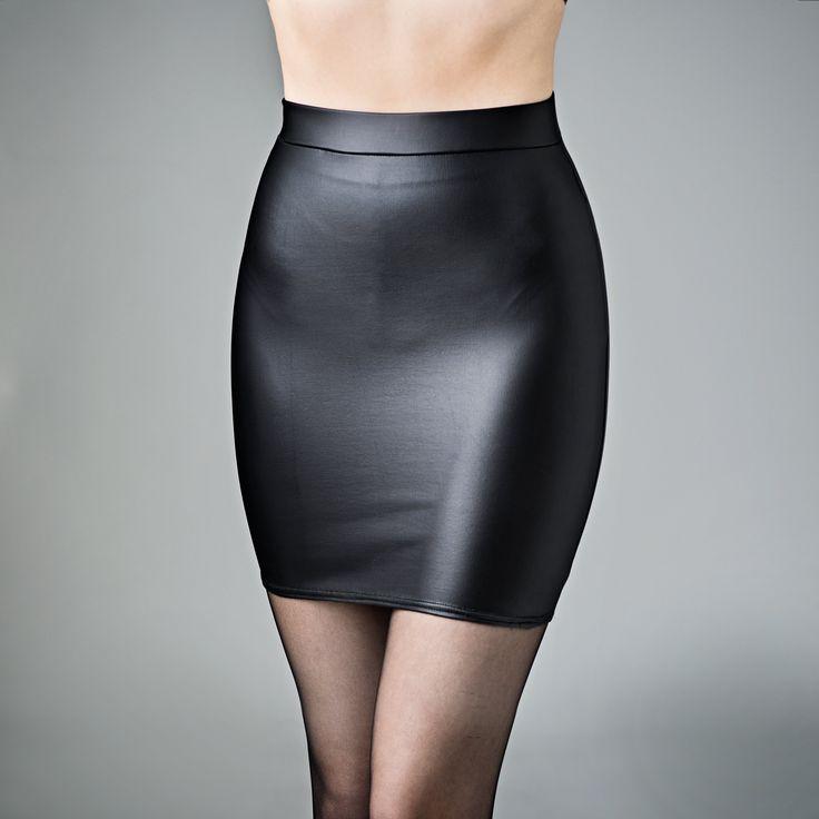 skintight matte leather look miniskirt spandex black | black ...