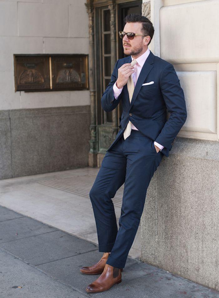 soldes izac costume de fursac bleu foncé marine chemise rose