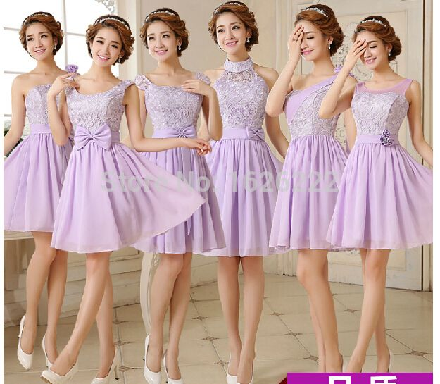 Cheap Bridesmaid Dresses, Buy Directly from China Suppliers:Above knee mini sleeveless strapless A line 2015 short lilac / lavender junior convertible lace bridesmaid dress under $