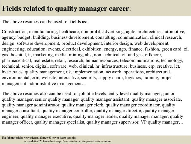 Resume Examples Quality Manager | Sample resume, Cover ...
