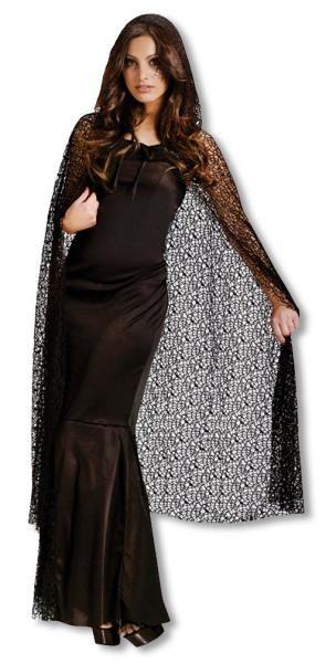 Schwarzes #Gothic Cape aus Netz um als #Lady_Morticia oder Fürstin der Dunkelheit verkleidet zu gehen