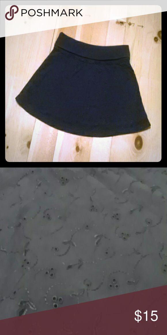 Casual skirt American Eagle navy blue eyelet pattern skirt American Eagle Outfitters Skirts Circle & Skater