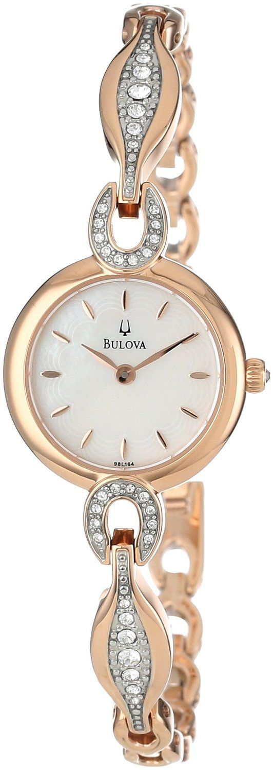 women's watches Gold watches for women Bulova Women's 98L164 Crystal Bangle Watch
