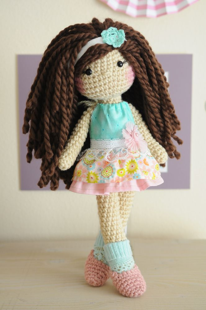 "14"" Crochet doll with brown curly hair (wool yarn). ~RTS~"