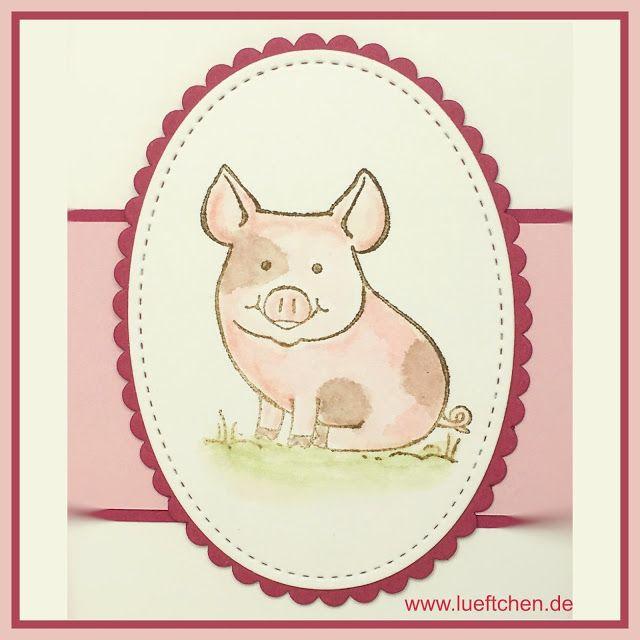 Lüftchen, coloring, stampin Up!, Glücksschweinchen, this little piggy, blog Hop