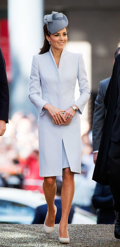 April 20, 2014 - Kate Middleton in Pale Blue on Easter.  It was a pale blue coatdress with sharp shoulders (and a hat just one shade darker) for Easter church services at St Andrew's Cathedral in Sydney.