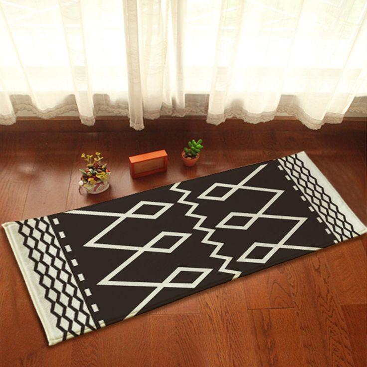 Yazi Noir et Blanc Flanelle Tapis De Sol de Cuisine Tapis Anti Slip Porte Tapis Décor À La Maison 45x115 cm dans Tapis de sol de camping de Maison & Jardin sur AliExpress.com   Alibaba Group