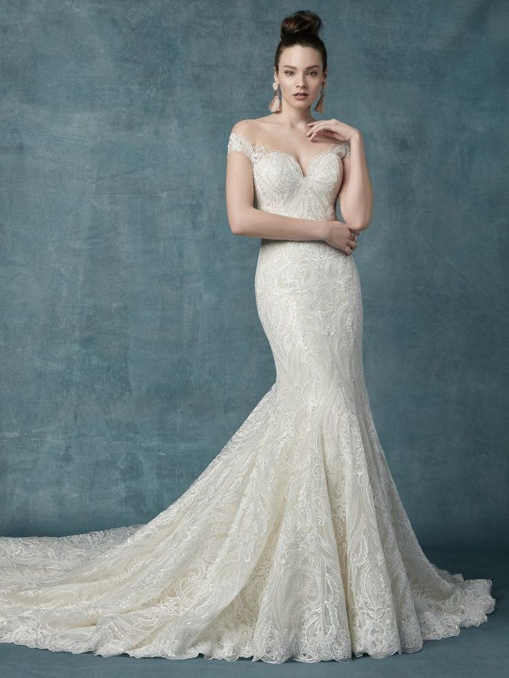 Off The Shoulder Lace And Sequin Fit And Flare Wedding Dress