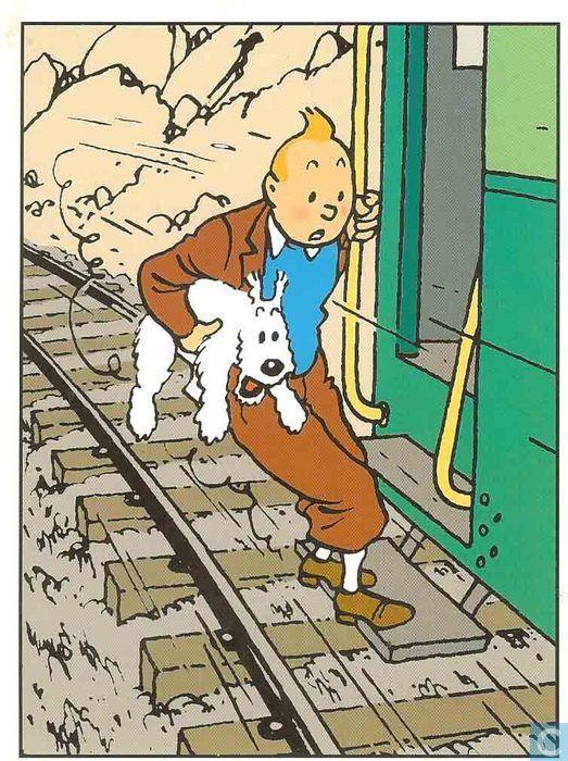 Carte postale - Tintin - Kuifje 042 kuifje op trein
