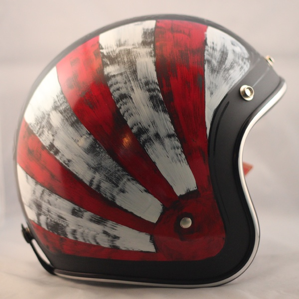 Distressed Red & White One-Of-A-Kind Biltwell custom painted helmet. $269 Available here: http://sqi.sh/ewQ