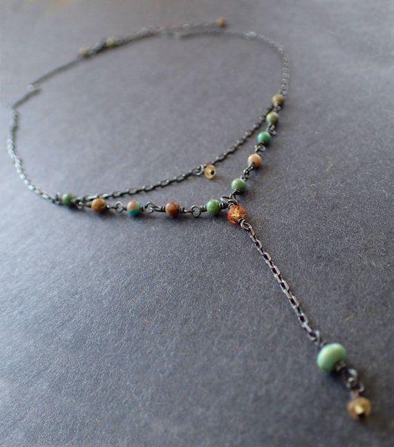Turquoise Multi-strand Oxidized Choker Layered Rosary Silver