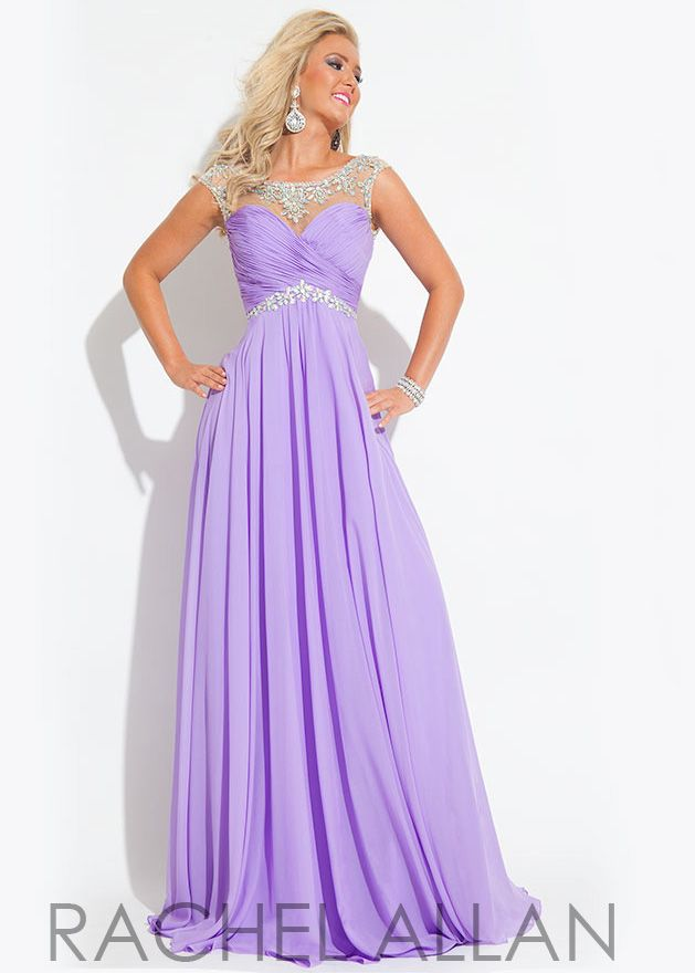 lilac beaded chiffon evening dress rachel allan 6903