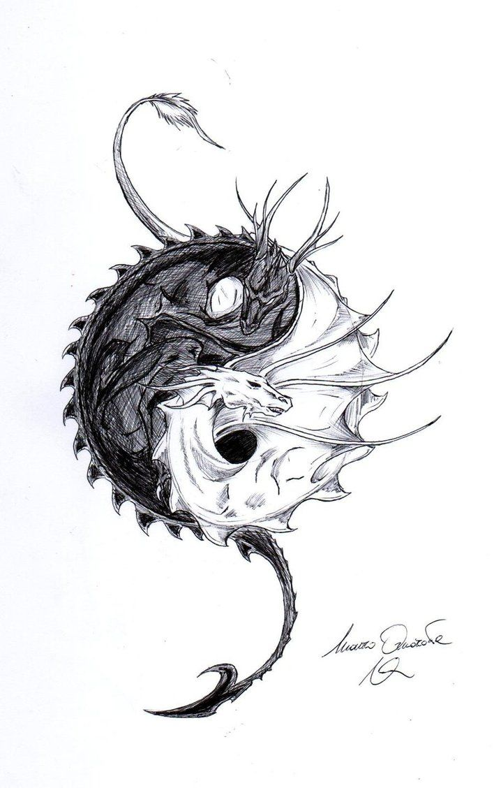 Fantasy dragon tattoo designs dragon ying yang by for Cool fantasy drawings