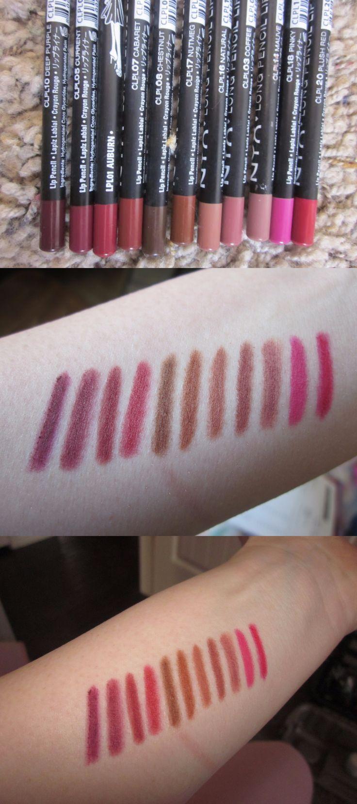 NYX Lip Liner Pencils: (L-R)  Deep Purple, Current, Auburn, Cabaret, Chestnut, Nutmeg, Natural, Coffee, Mauve, Pinky, and Plush Red