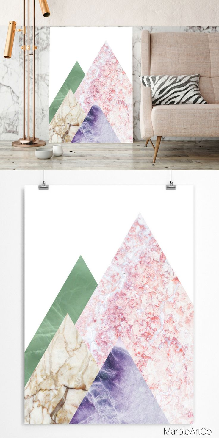 The abstract mountains art print created with the use of natural marble photographs and convey the unique beauty of the stones. The print is a universal wall decor for any modern interior. Check out on MarbleArtCo