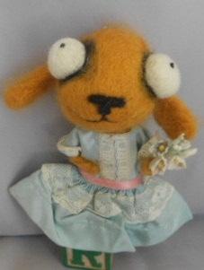 golden Retriever in a vintage dress Ooak art doll.