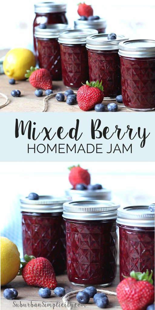 This homemade mixed berry jam recipe is so delicious you'll want to put it on everything from pancakes and toast to waffles and ice cream. Or eat it right out of the jar! | Low sugar