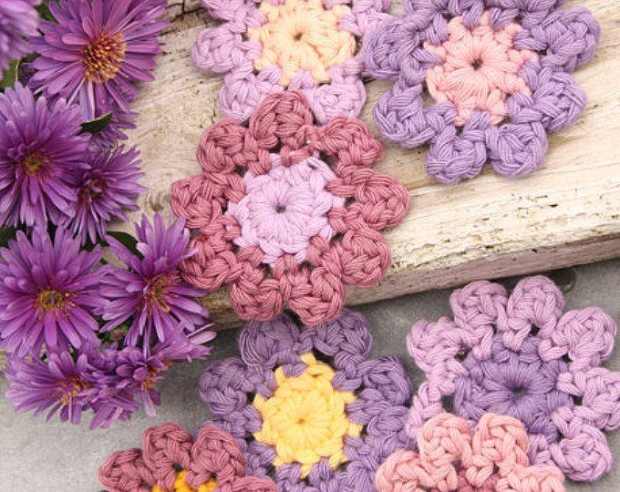 Gehaakte Aster bloem versiering/Add On, angepaste volgorde, Handmade
