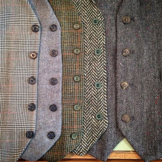 Tweed Vests for rustic wedding,just cont…